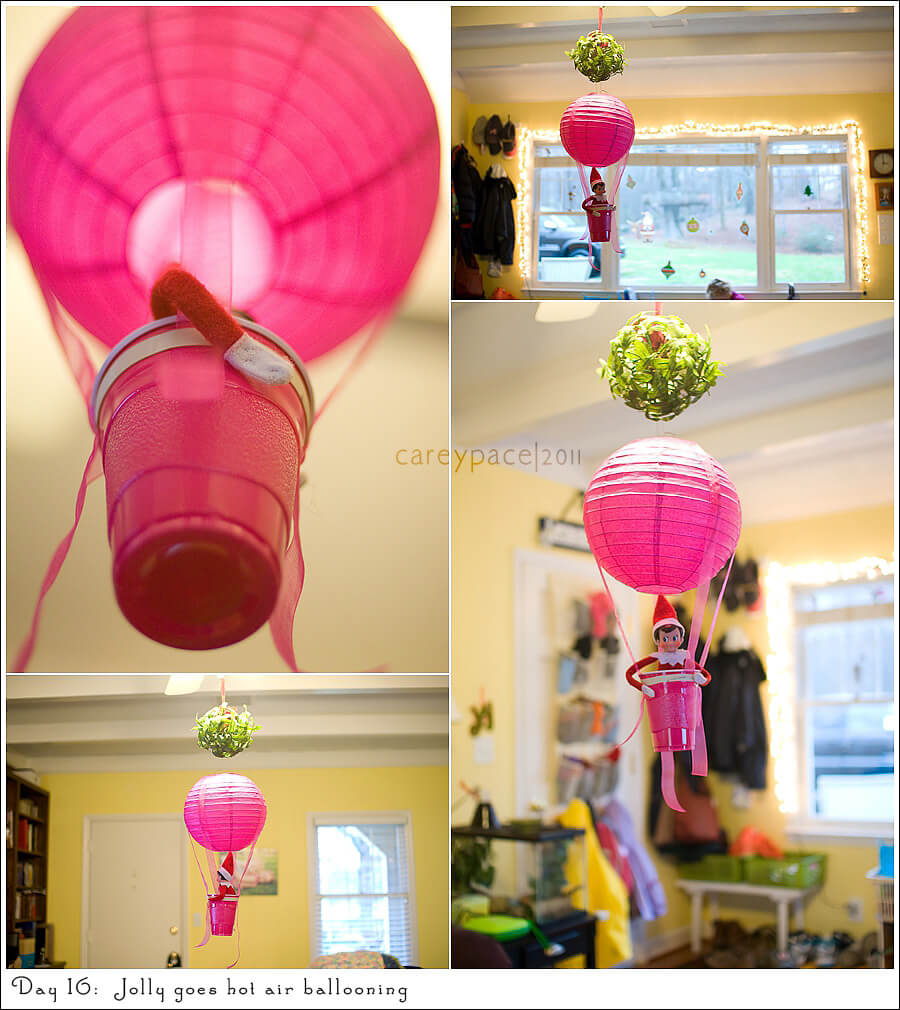 Goes hot air ballooning | Fun & Simple Elf on Shelf Ideas For This Christmas