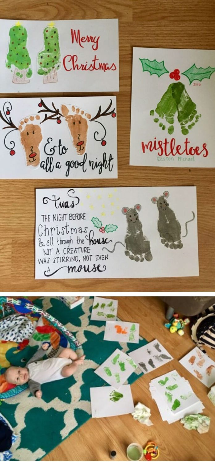 Christmas Craft Footprint Art | Easy, Inexpensive, and Creative Christmas Crafts for Kids