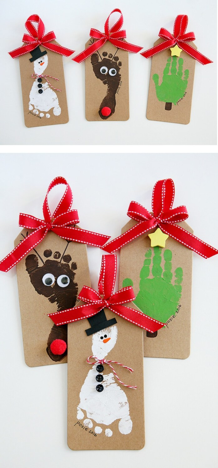 Footprint Christmas Ornaments | Easy, Inexpensive, and Creative Christmas Crafts for Kids