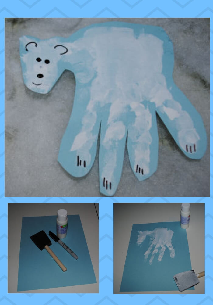 Polar Bear Handprint | Christmas Craft Ideas for Preschoolers