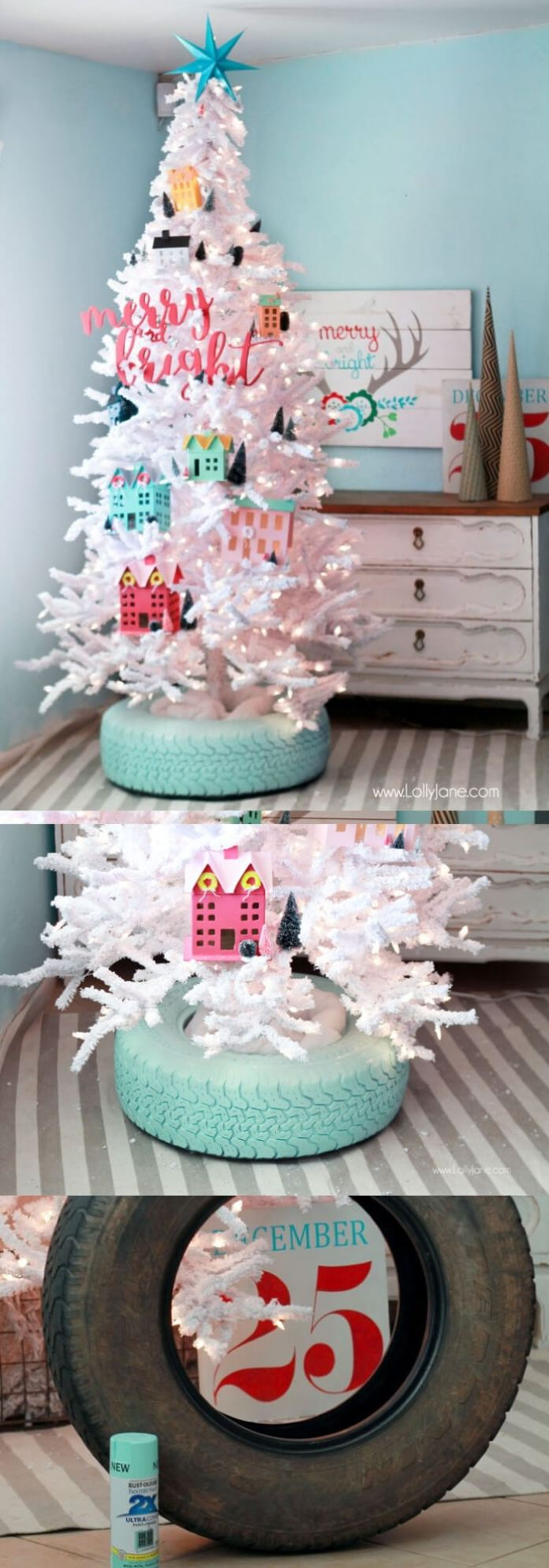 Recycled Tire Christmas Tree Base | Best Recycled Tire Christmas Decoration Ideas | FarmFoodFamily.com