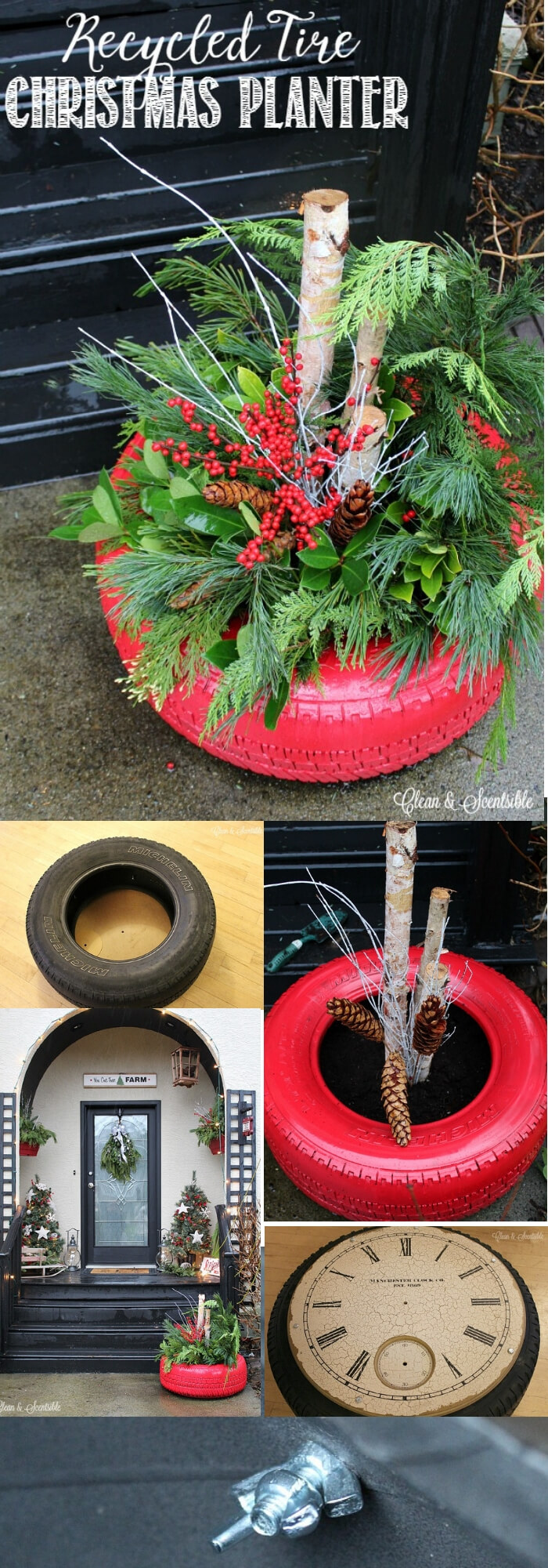 Recycled Tire Christmas Planter | Best Recycled Tire Christmas Decoration Ideas | FarmFoodFamily.com