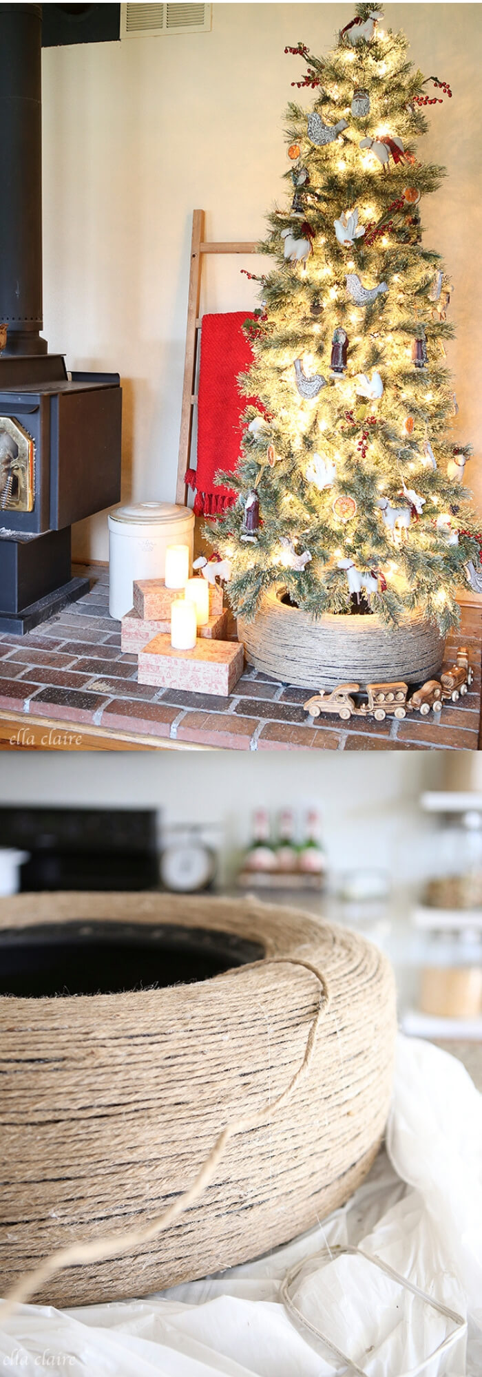 DIY Jute Wrapped Tire Christmas Tree Stand | Best Recycled Tire Christmas Decoration Ideas | FarmFoodFamily.com