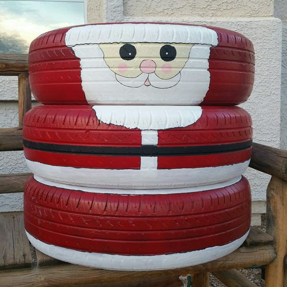 Santa Claus recycled old tires | Best Recycled Tire Christmas Decoration Ideas | FarmFoodFamily.com