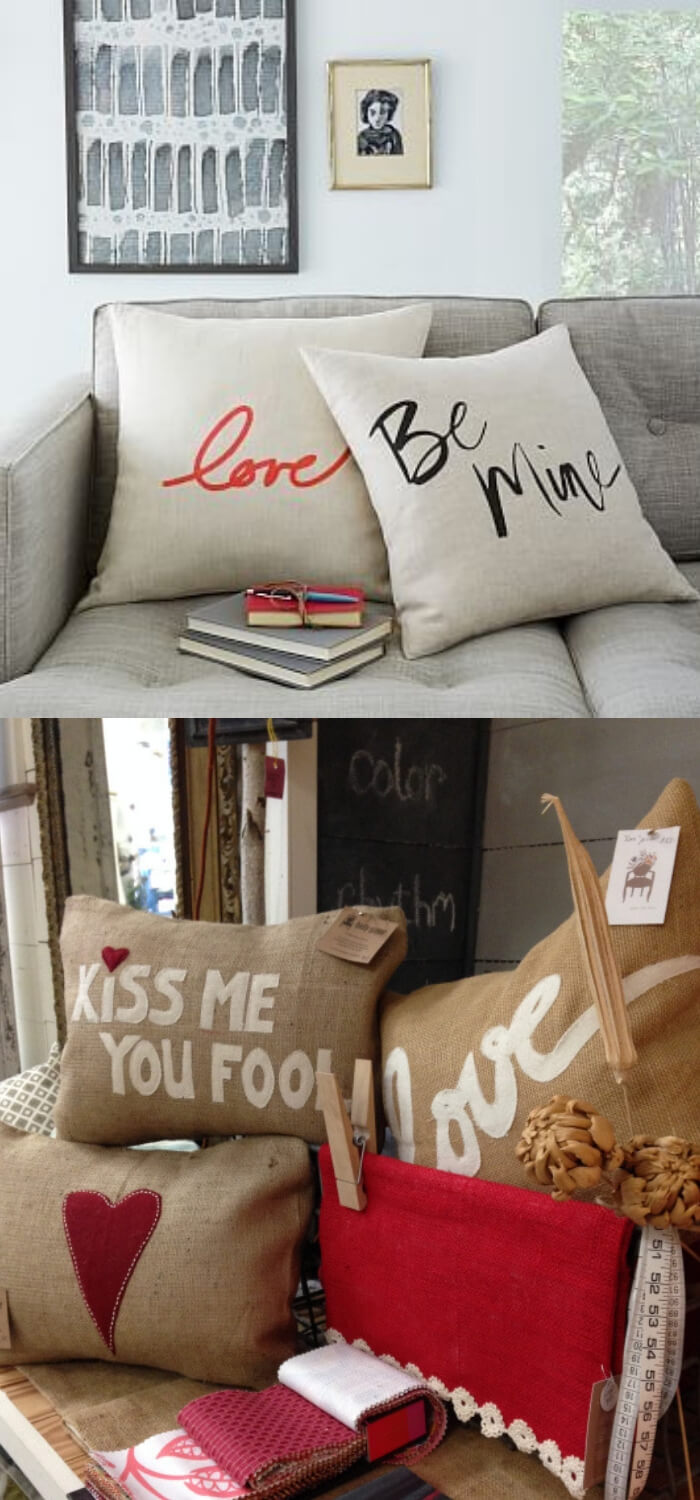 Pillows to spruce up your living room | Valentine's Day Decorating Ideas For Your Lovers | FarmFoodFamily.com