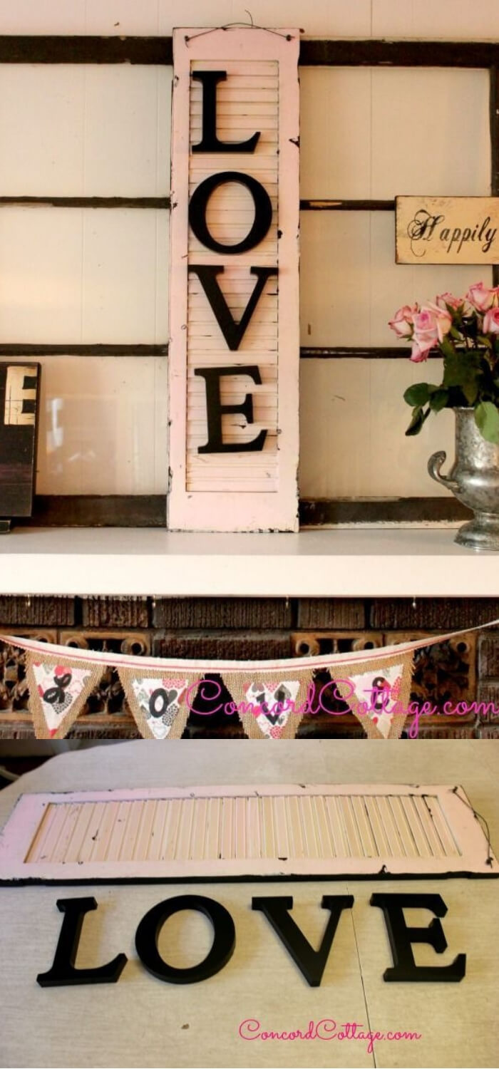 Old Shutter With LOVE | Valentine's Day Decorating Ideas For Your Lovers | FarmFoodFamily.com