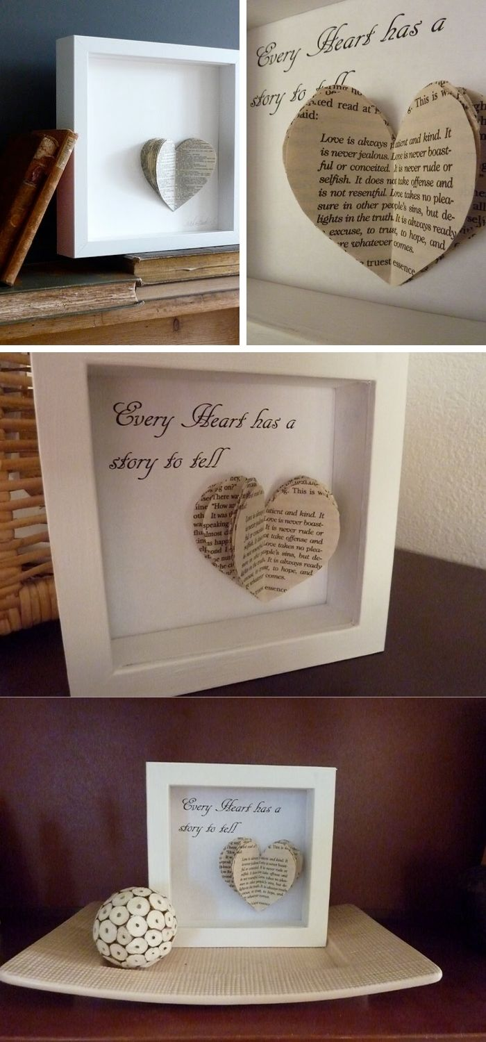 Book heart art DIY | Valentine's Day Decorating Ideas For Your Lovers | FarmFoodFamily.com