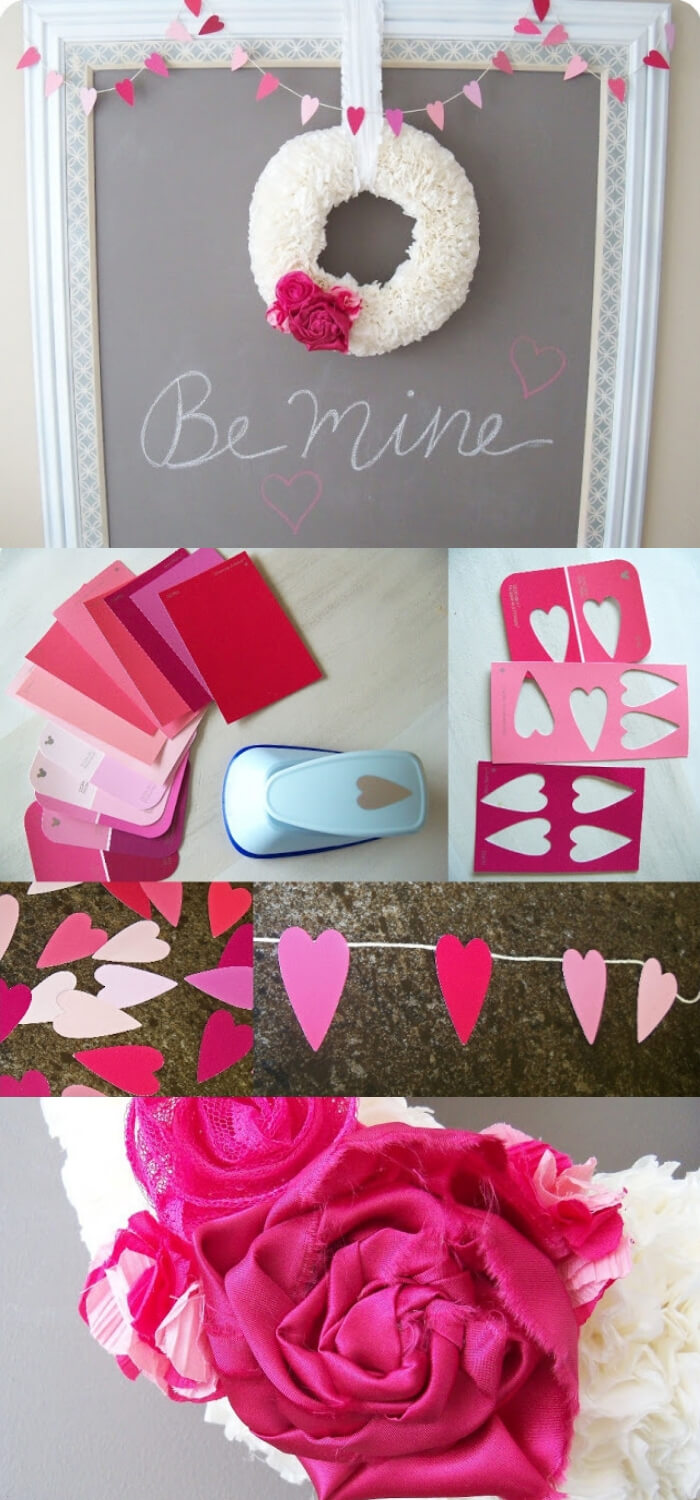We heart paint chips | Valentine's Day Decorating Ideas For Your Lovers | FarmFoodFamily.com