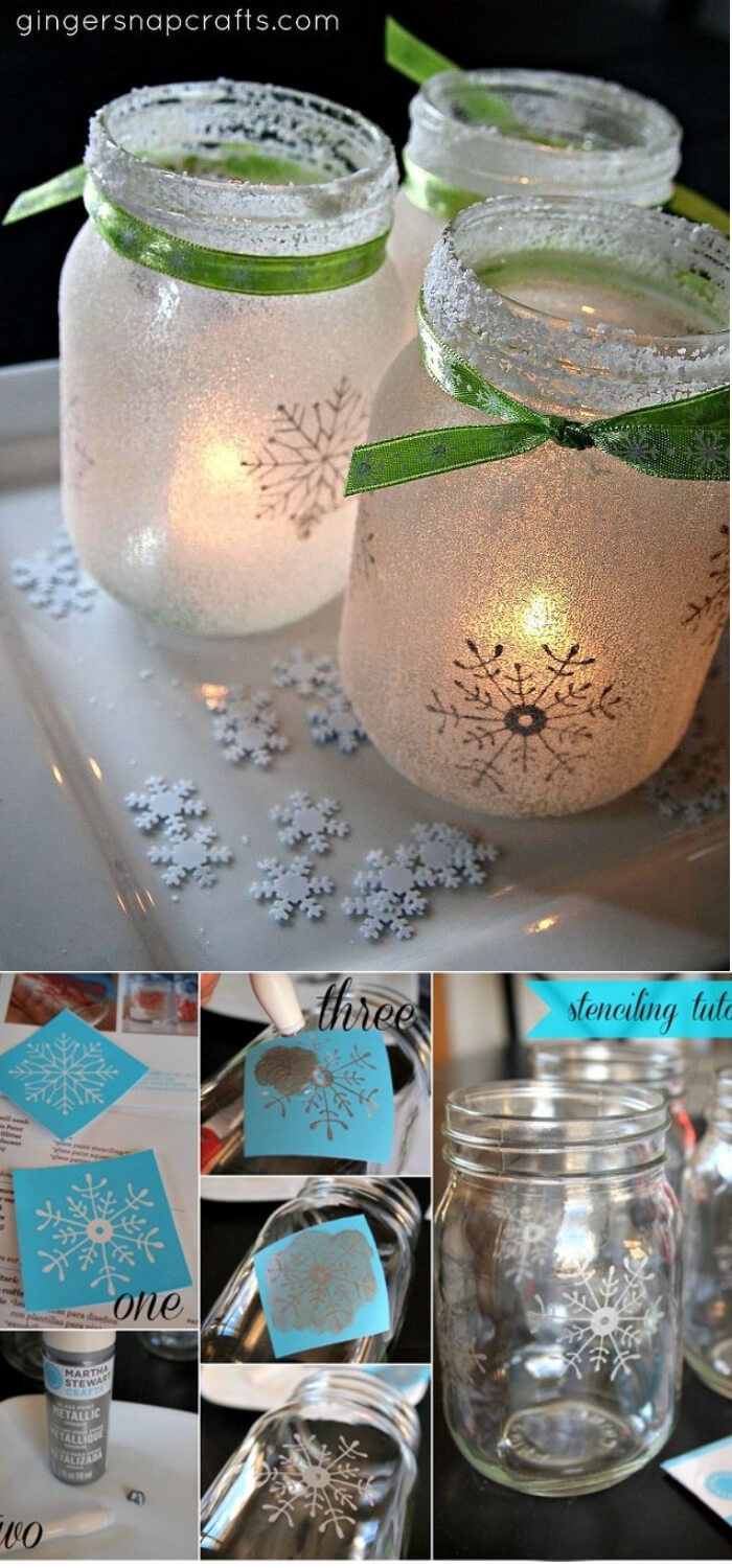 White Christmas Mason Jar Luminaries | Christmas Spirit Jars Ideas | FarmFoodFamily.com