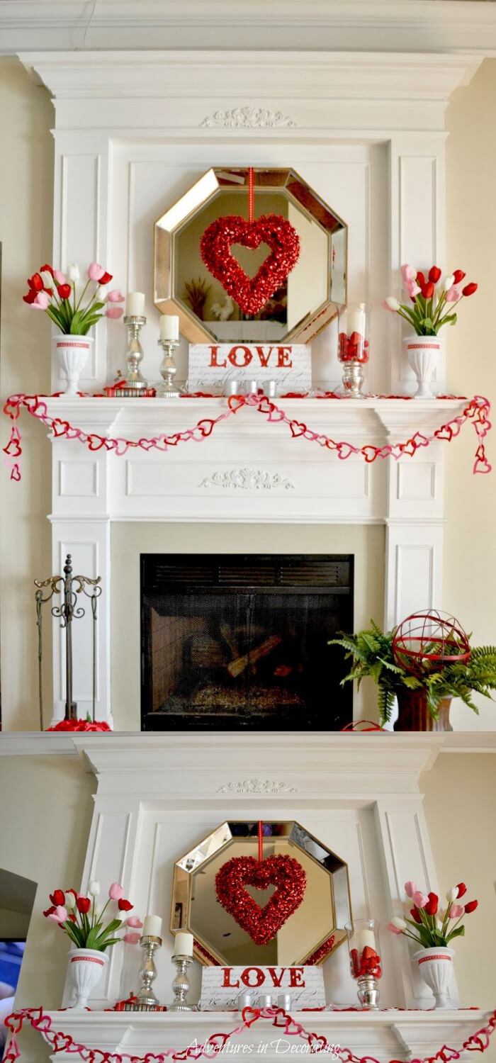 Valentine Mantel | Valentine's Day Decorating Ideas For Your Lovers | FarmFoodFamily.com