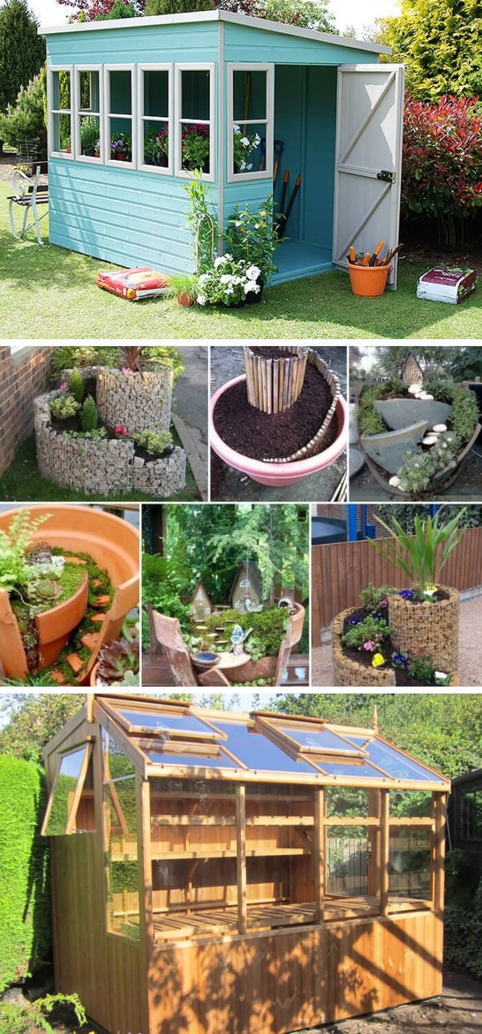 Buildings Add Interest to Garden Design (Potting Shed & Miniature)