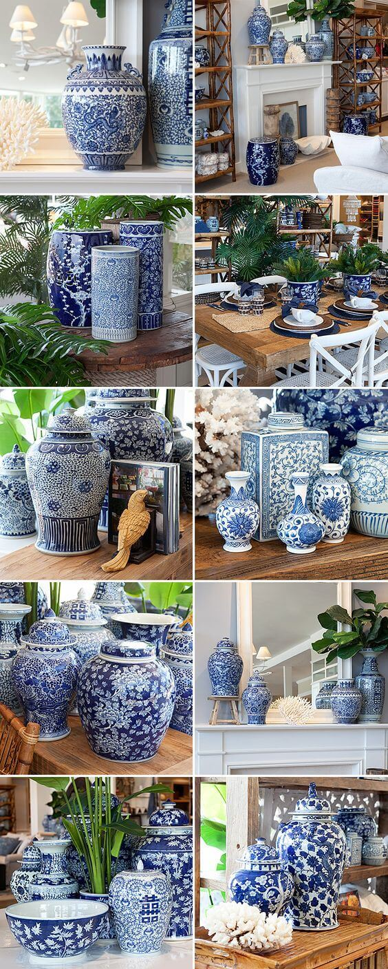 Home Decorating Ideas With Flowers: Blue and white dynasty ginger jars