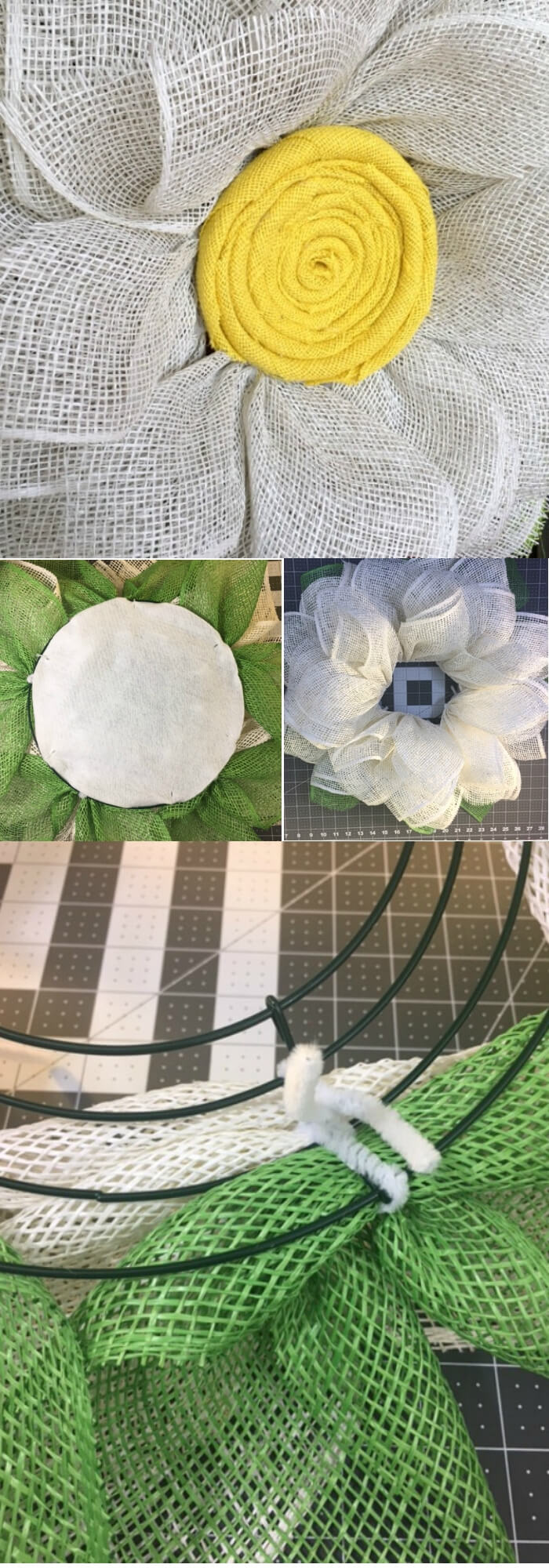 Easy and Simple DIY Spring Wreath Ideas | A Burlap Daisy Wreath