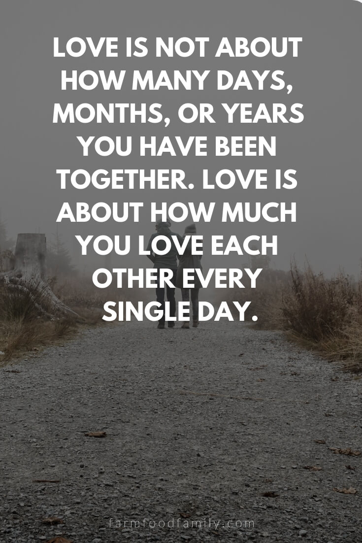 Cute, Funny, and Sweet Love Quotes For Him | Love is not about how many days, months, or years you have been together. Love is about how much you love each other every single day.