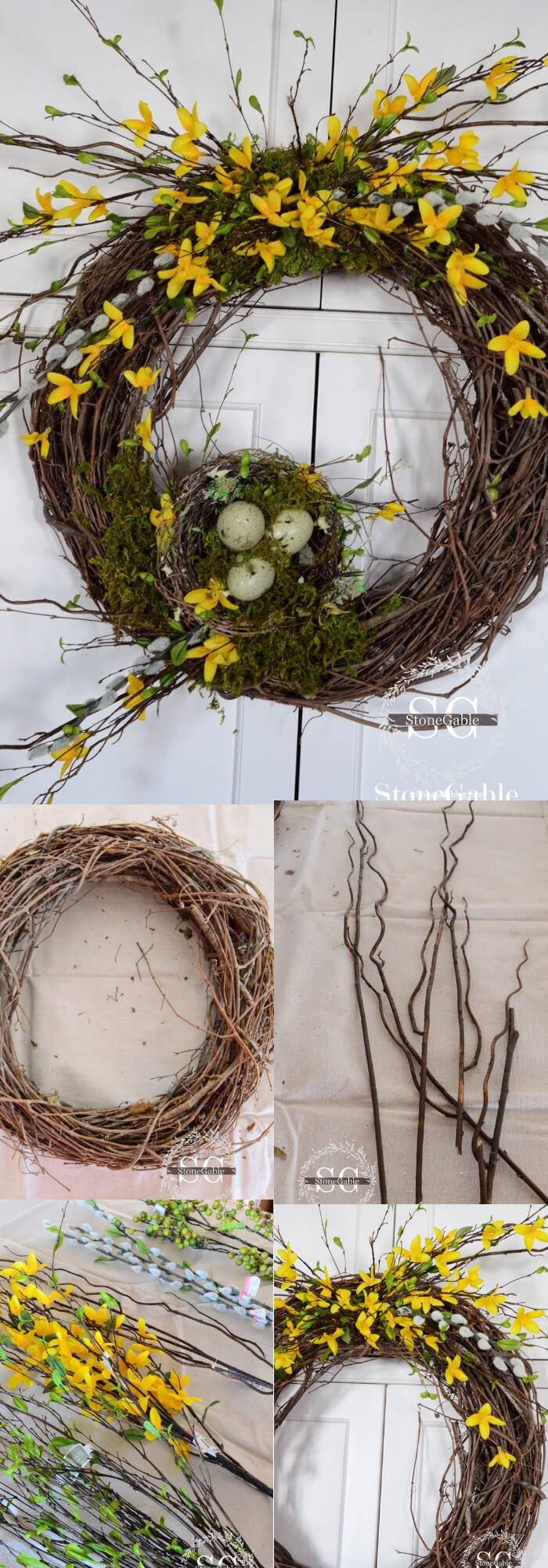 Easy and Simple DIY Spring Wreath Ideas | Forsythia Wreath