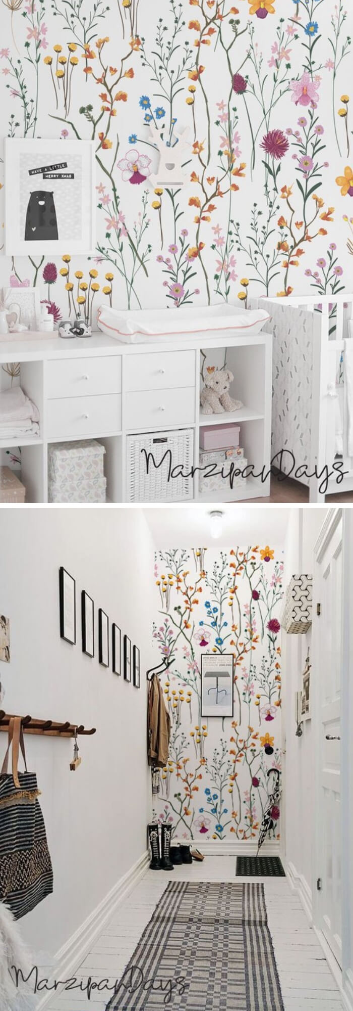 Home Decorating Ideas With Flowers: Wild flowers removable wallpaper