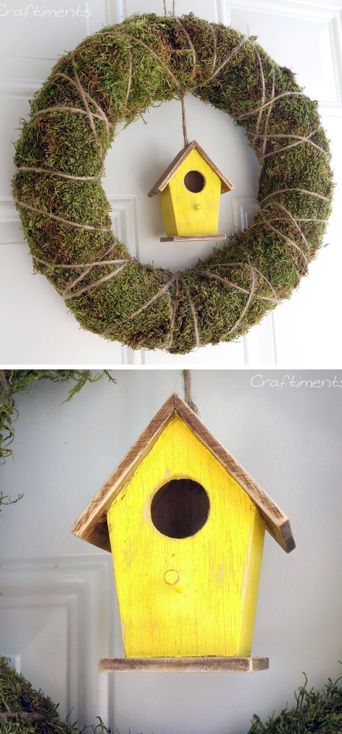 Easy and Simple DIY Spring Wreath Ideas | Moss & Twine Birdhouse Wreath