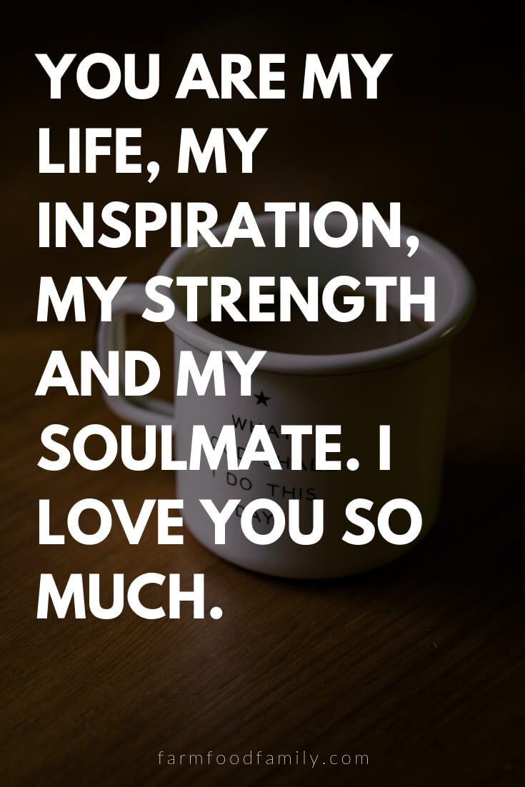 Cute, Funny, and Sweet Love Quotes For Him | You are my life, my inspiration, my strength and my soulmate. I love you so much.