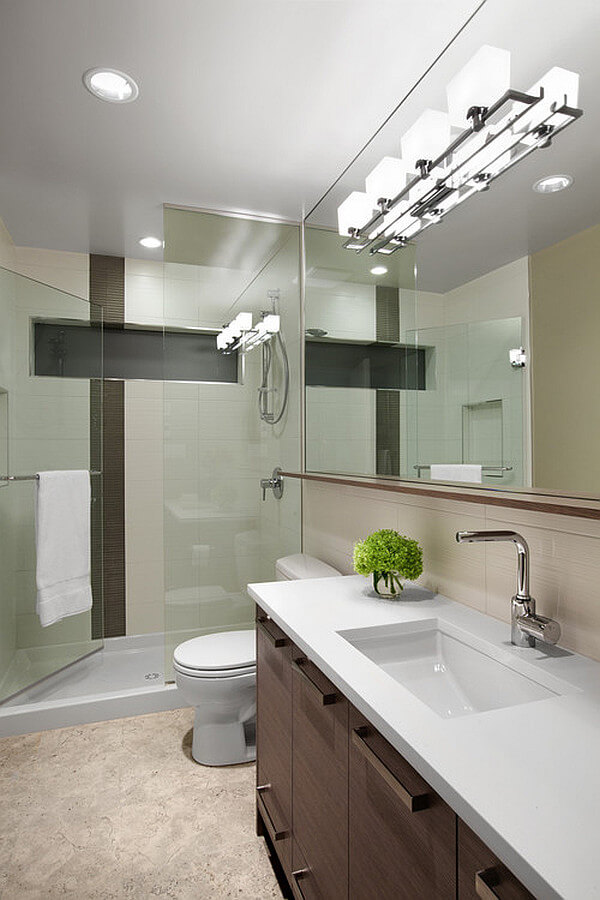 Use Lighting to Increase Space in a Small Bathroom | Easy Ways to Make a Small Bathroom Look Larger | FarmFoodFamily.com