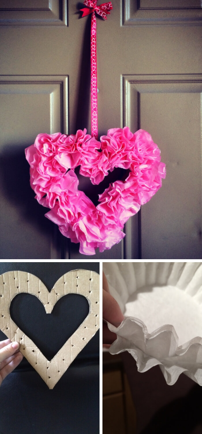 Valentine's Coffee Filter Wreath | Environmentally-Friendly Valentine's Day Gifts