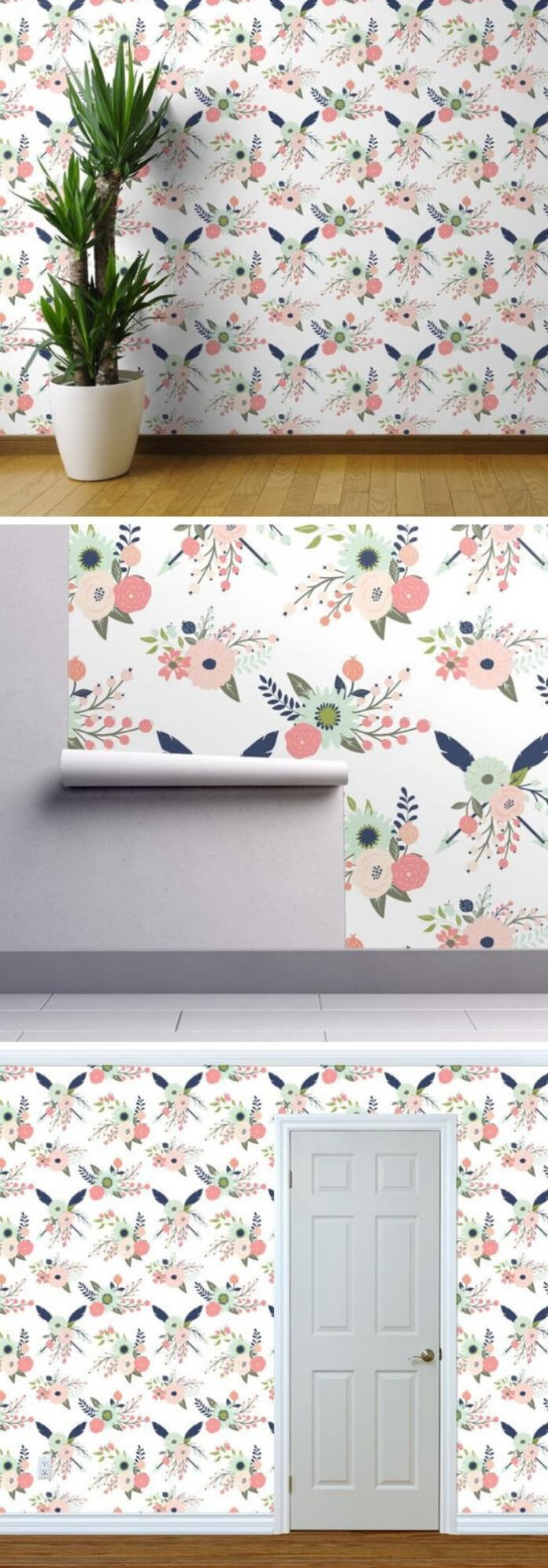 Home Decorating Ideas With Flowers: Floral Wallpaper - Gracie Blooms