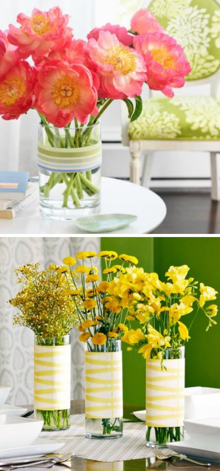 Quick Decorating Changes for Spring: Ribbon makeover + Cheery yellow