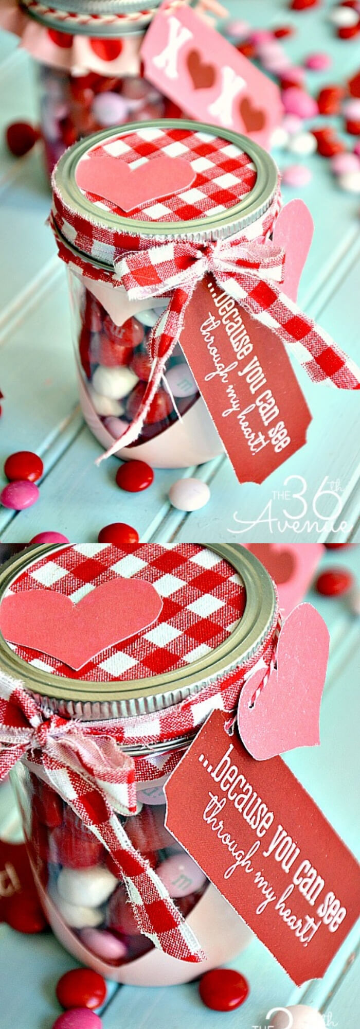 Free Valentine Printable and Heart Candy Jar | DIY Mason Jar Gift Ideas For Valentine's Day | FarmFoodFamily.com