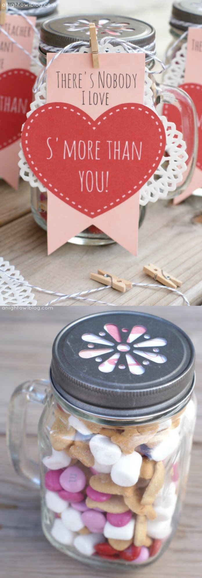 S'mores Valentines | DIY Mason Jar Gift Ideas For Valentine's Day | FarmFoodFamily.com