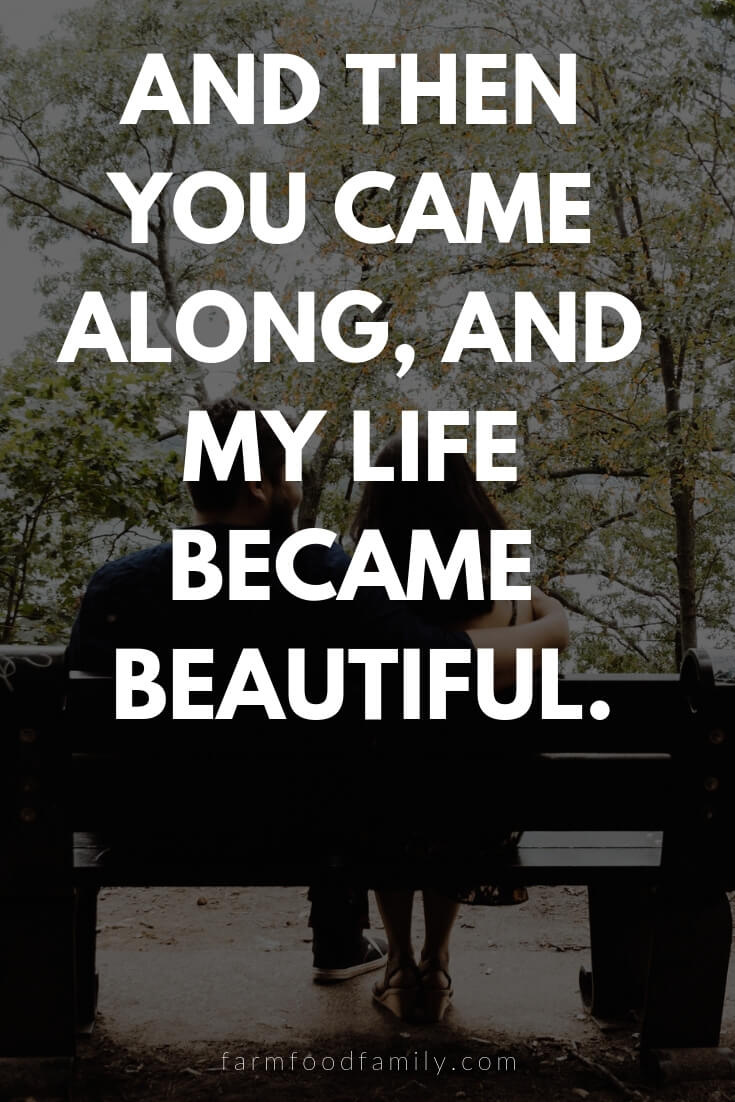 Cute, Funny, and Sweet Love Quotes For Him | And then you came along, and my life became beautiful.