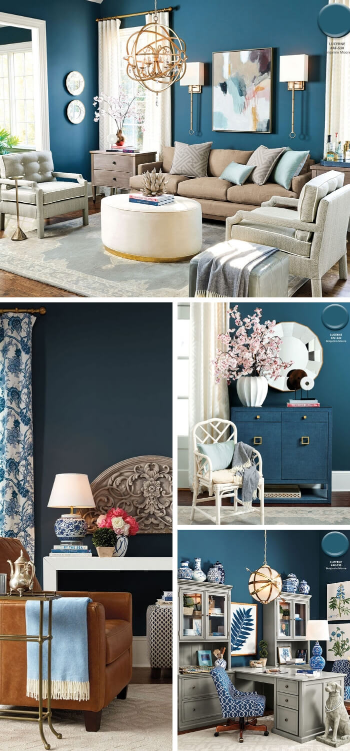 Ballard Designs Spring: Benjamin Moore's Lucerne (Navy, black, dark brown)