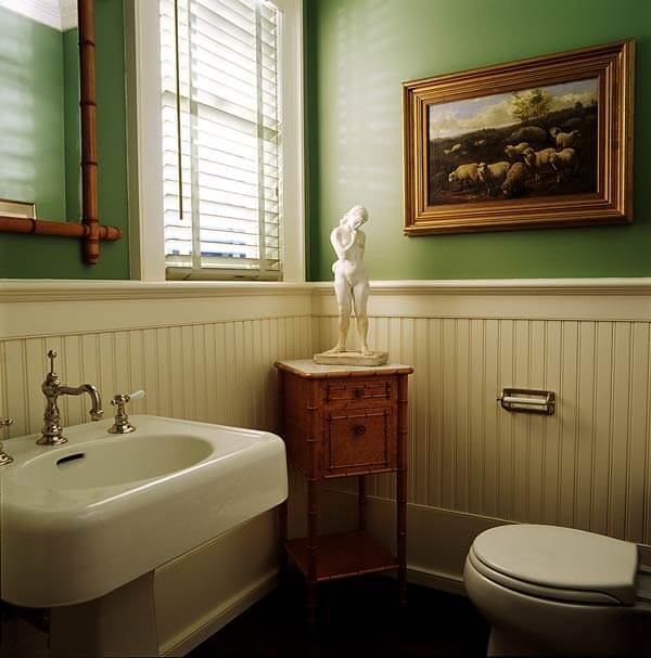 Update a 70's Bathroom | Bathroom Wainscoting: Beadboard Panels in the Bathroom Design | FarmFoodFamily.com