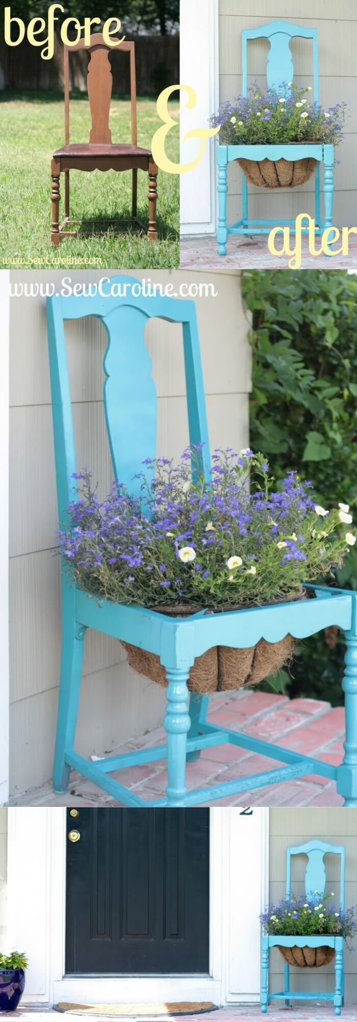 Before and After DIY Chair Planter | Creative Upcycled DIY Chair Planter Ideas For Your Garden