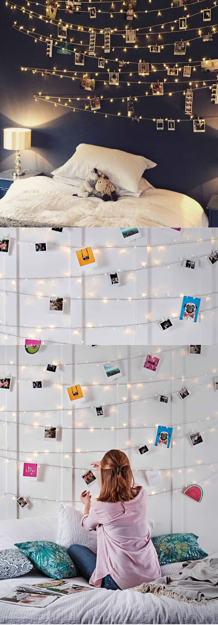 Photo wall | Best Fairy Light Decoration Ideas