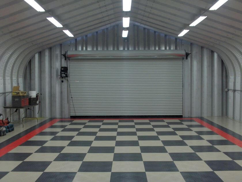 Checkered Floor | Best Garage Lighting Designs & Ideas