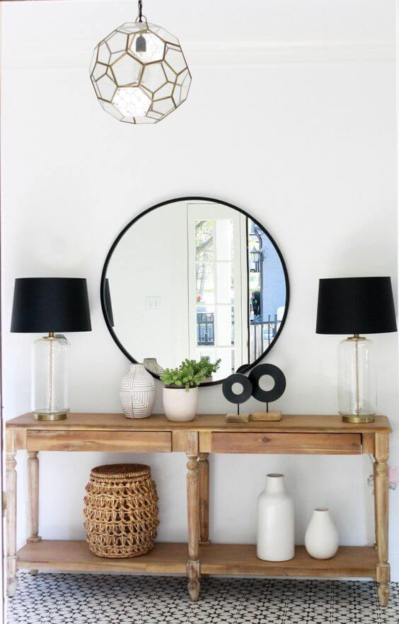 Round black mirror entryway | Best Entryway Mirror Decor Ideas