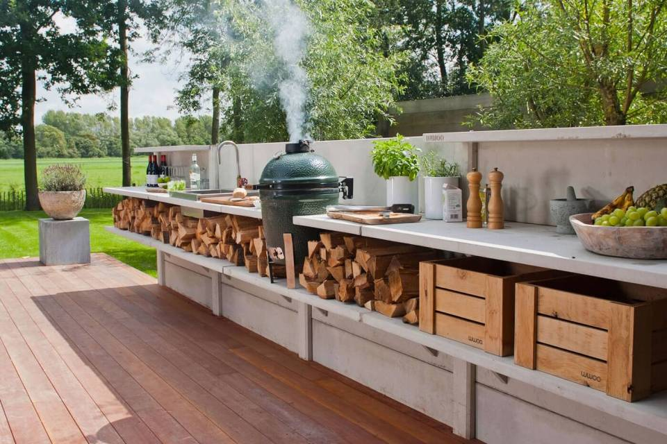 Kitchen With Countertop and Log Storage | DIY Outdoor Kitchen Ideas (Cheap, Simple, Modern, and Country)