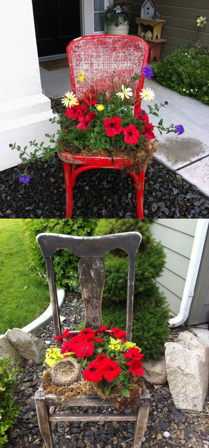 Flower Pots from Old Chair   DIY Spring Porch Decor Designs & Ideas