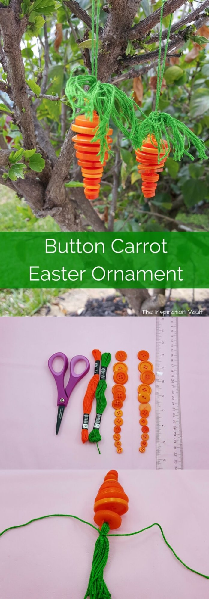 Button carrot Easter ornament | Creative Easter Garden Projects & Ideas Your Kids Will Love