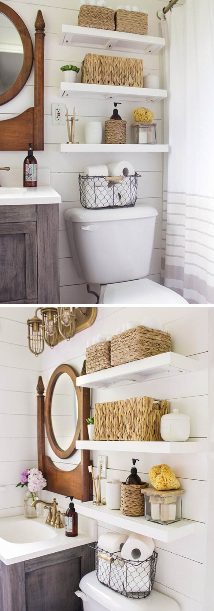 Floating Shelves for master bathroom | Best Over the Toilet Storage Ideas for Bathroom