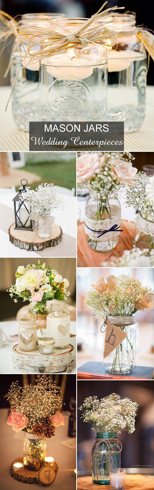 Wedding Mason Jar Centerpieces | Creative & Rustic Backyard Wedding Ideas For Summer & Fall