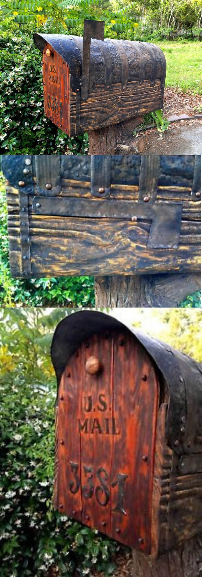 Rustic mailbox with cedar door | Best Mailbox Landscaping Ideas