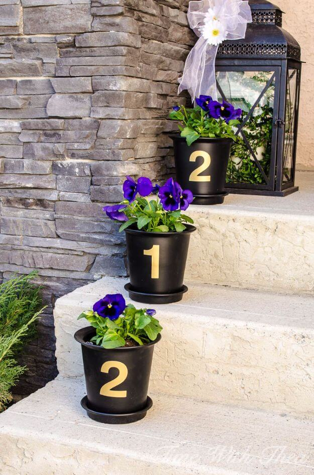 House number from Flower Pots | DIY Spring Porch Decor Designs & Ideas