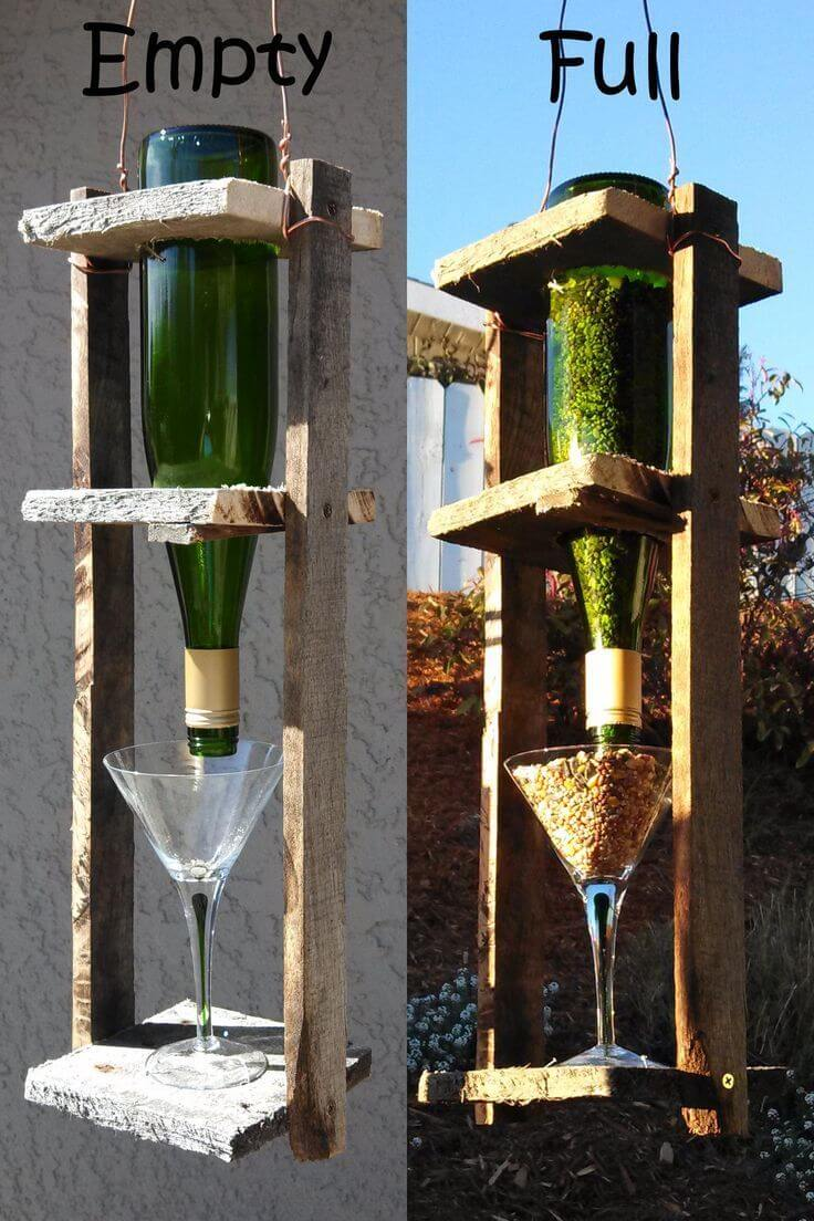 Wine bottle birdhouse