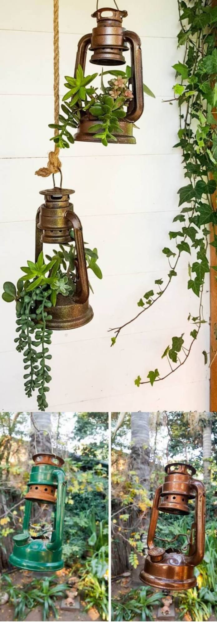 Lantern planters with succulents | Trending & Vintage Porch Lighting Ideas & Designs | FarmFoodFamily.com