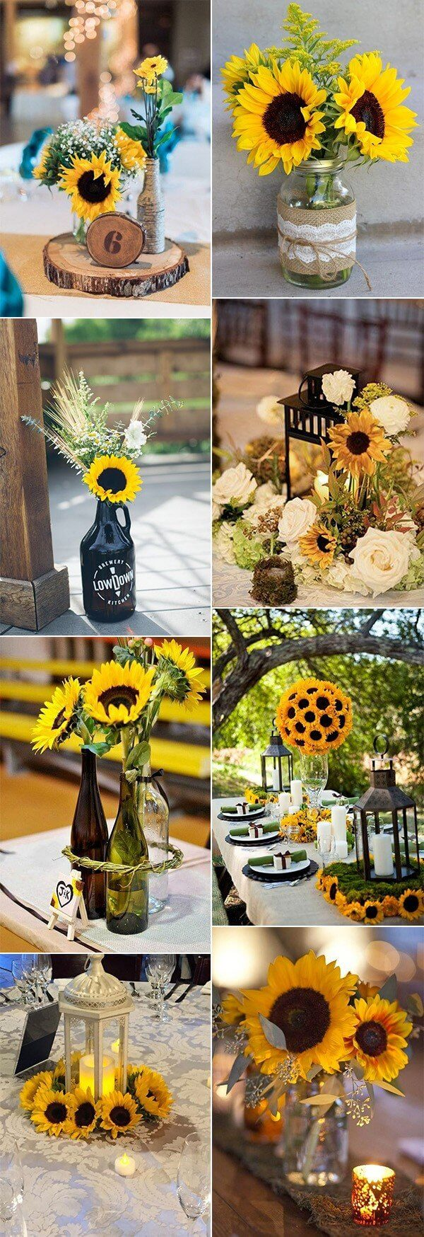 Sunflower Wedding Centerpiece Ideas | Creative & Rustic Backyard Wedding Ideas For Summer & Fall