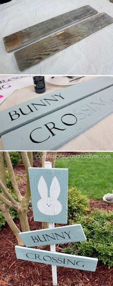 Bunny Sign Board | Creative Easter Garden Projects & Ideas Your Kids Will Love