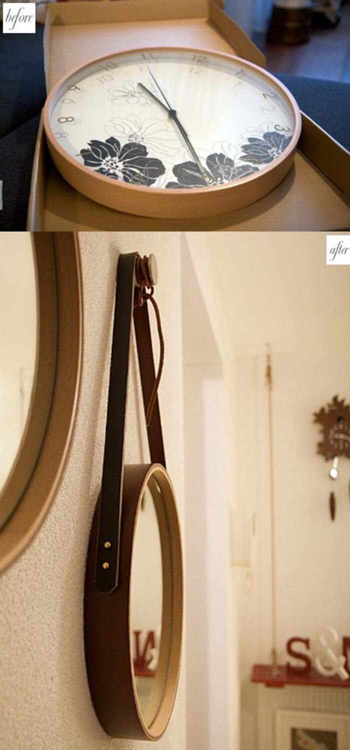 Before and after clock mirror | Best Entryway Mirror Decor Ideas