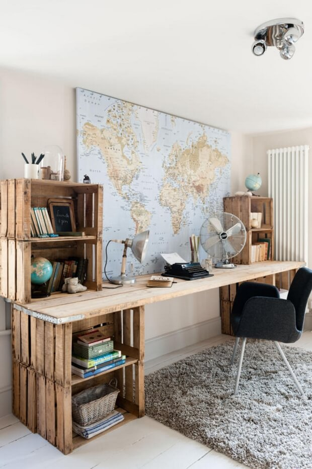Wood Crate Desk for home office | Best DIY Wood Crate Projects & Ideas