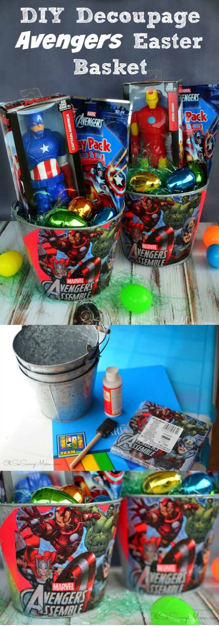 Decoupage DIY Avengers Easter Basket | Fun & Creative Easter Basket Ideas