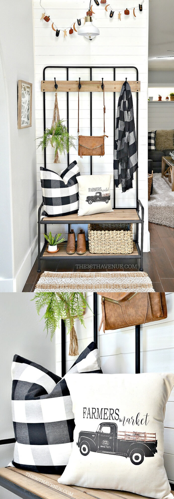 Farmhouse entryway makeover with wood   Best Small Entryway Decor & Design Ideas   Small Mudroom Ideas   FarmFoodFamily.com